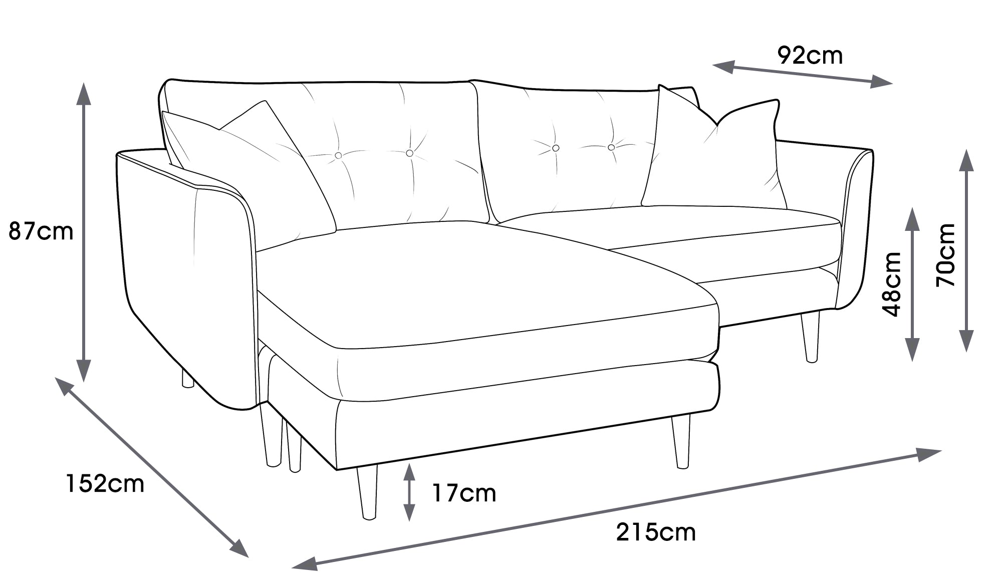 Linden Fabric Chaise Sofa (Right or Left)