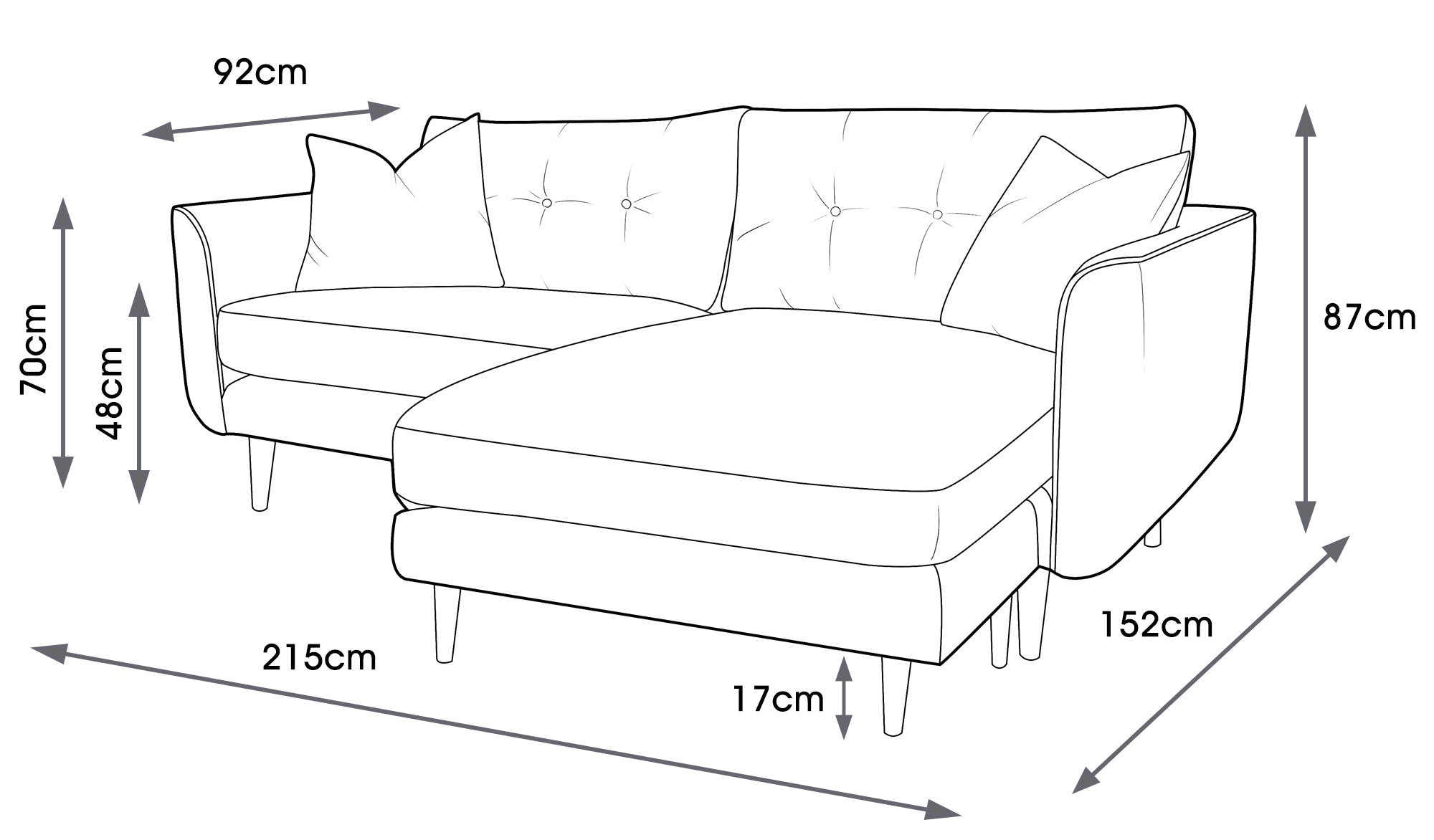 Linden Velvet Chaise Sofa Right Side