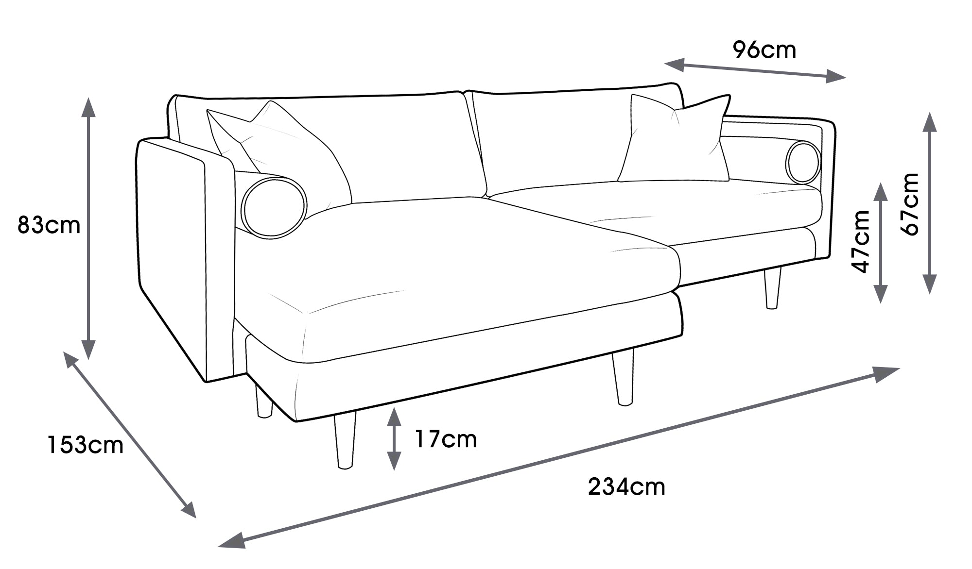 Mimosa Fabric Chaise Sofa (Right or Left)