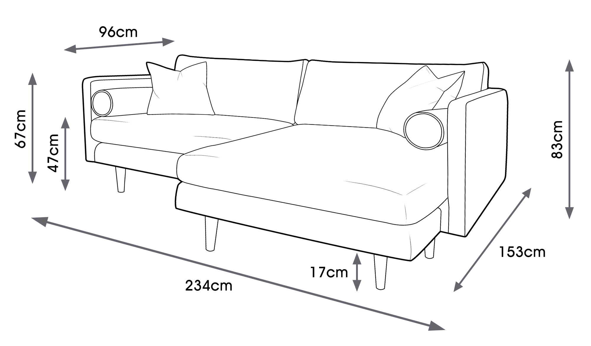 Mimosa Velvet Chaise Sofa Right Side