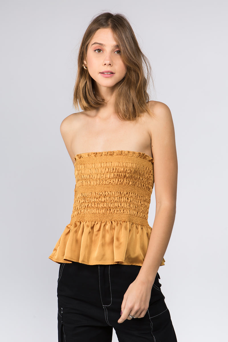 Gold Steph Smocked Top
