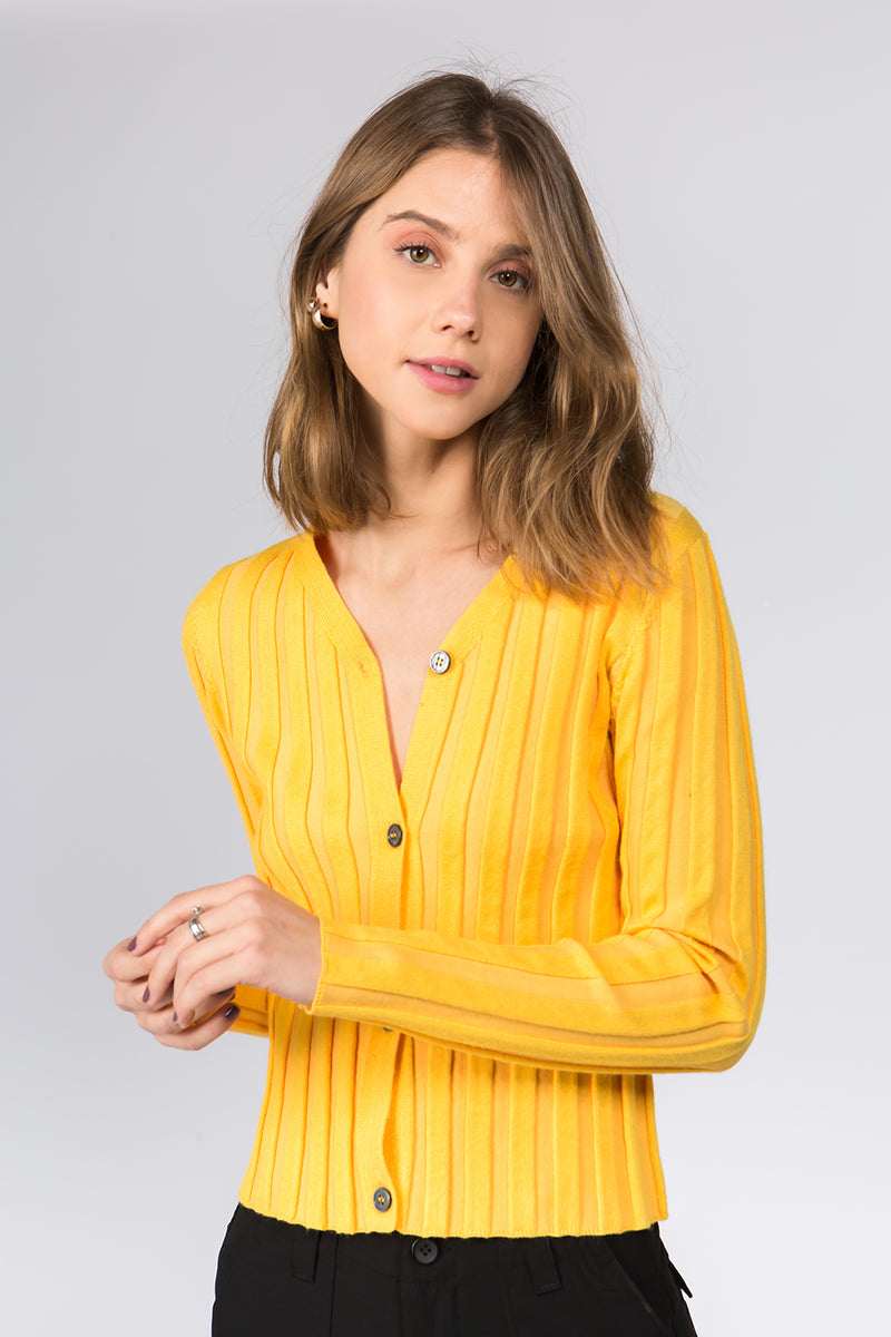 Raine Skinny Knit Cardi in Yellow