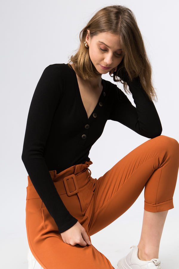 Pant - Alicia Belted Pant in Rust