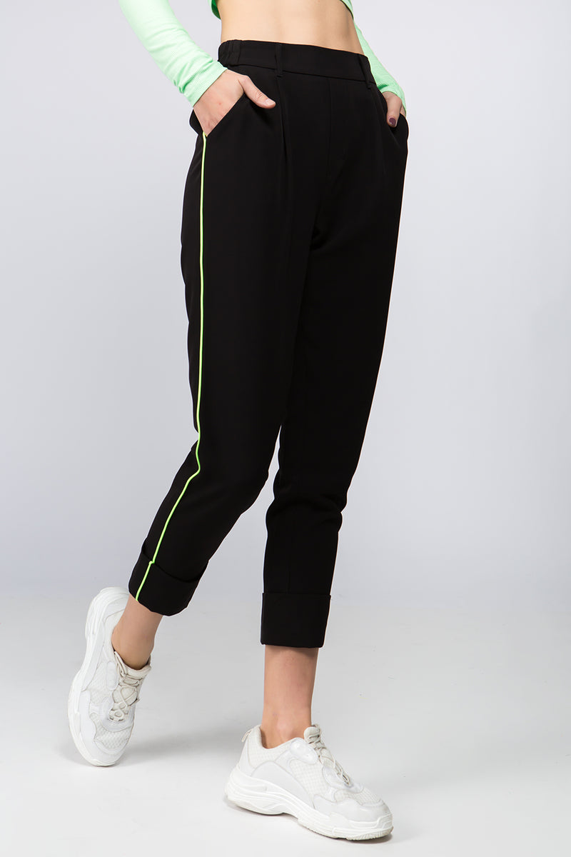Gia Contrast Stitch Jogger in Black
