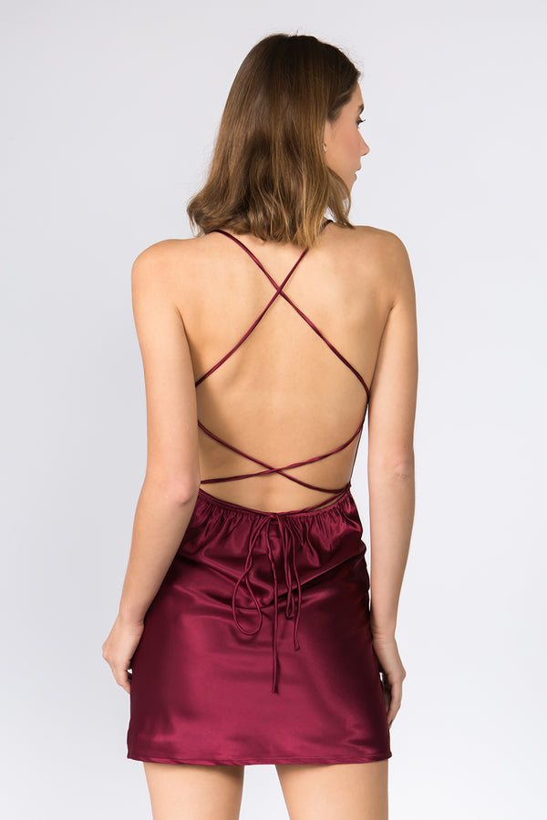 The Seine Satin Dress in Wine