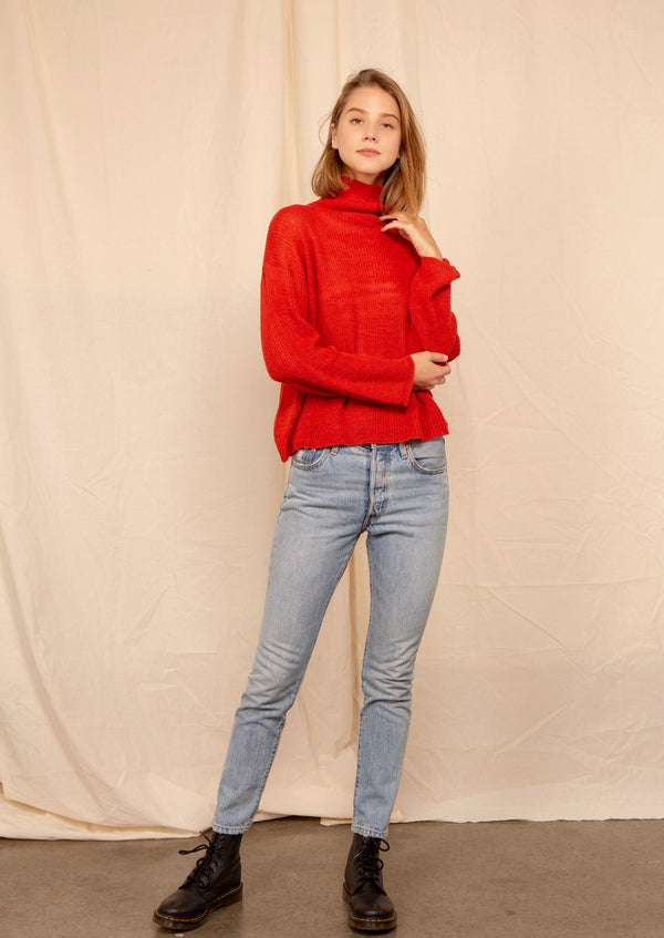 Turtleneck Sweater in Red