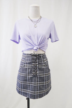 Plaid Lacing Mini Skirt