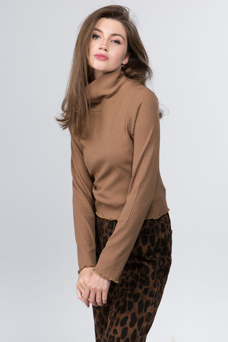 Roll Neck Crop Sweater in Brown