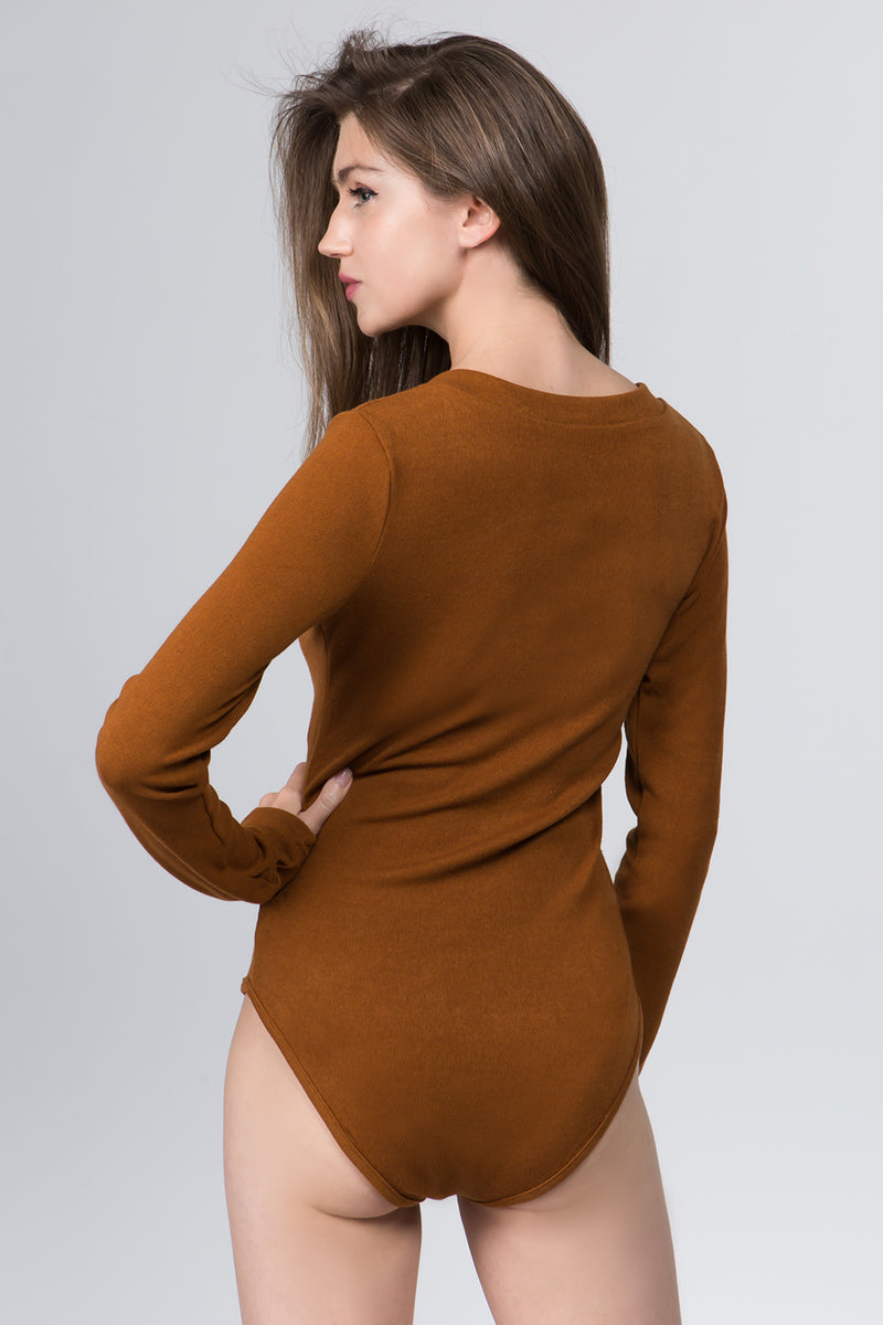 Eyes On You Plunging Neck Bodysuit in Camel