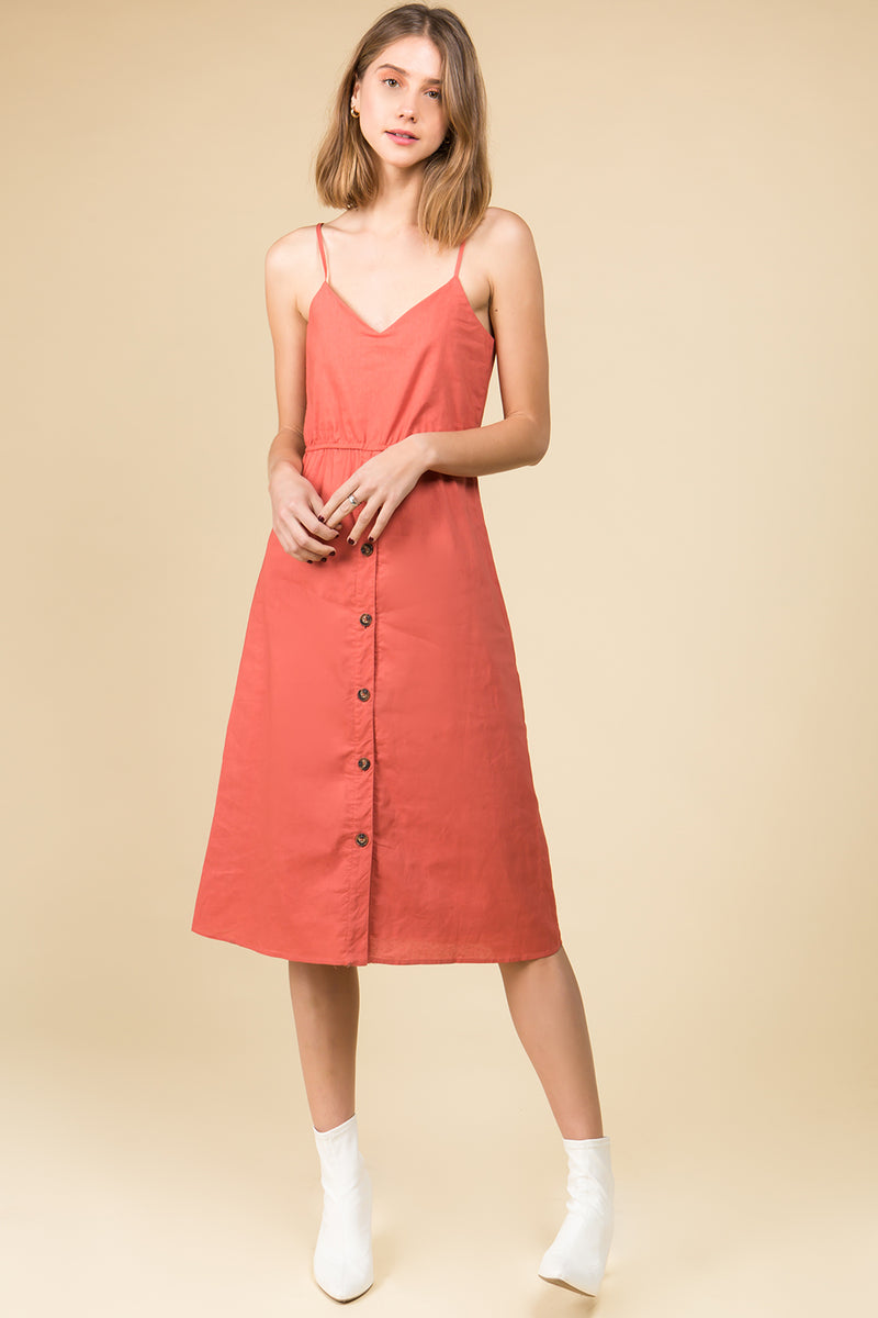 Back Tie Midi Dress in Brick