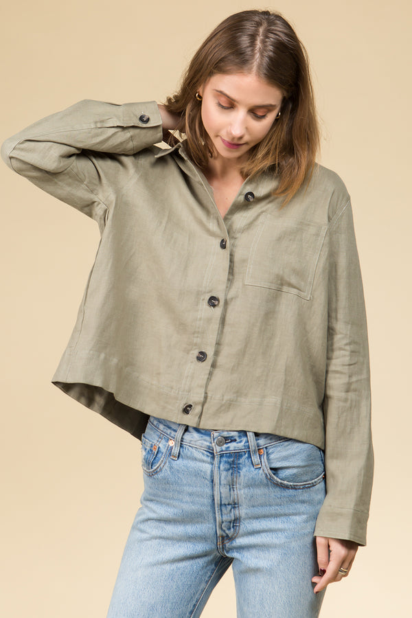 Contrast Stitches Linen Shirt