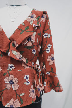 Airy Floral Wrap Blouse