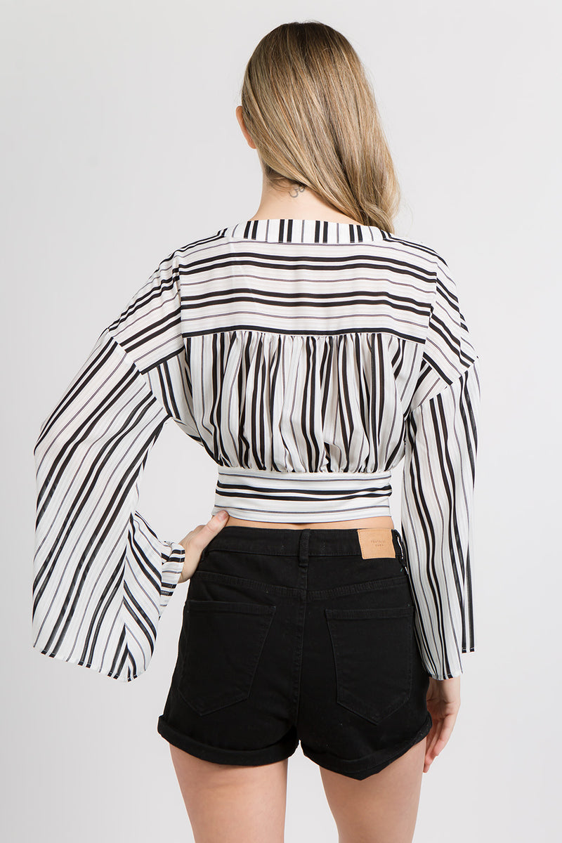 Tops - Striped Tie Front Crop Top