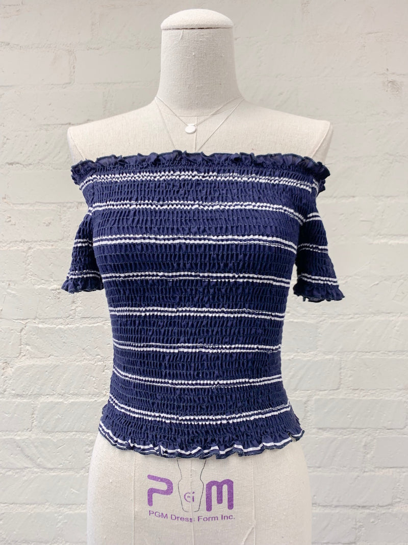 Alice Off-the-Shoulder Smocked Top in Navy