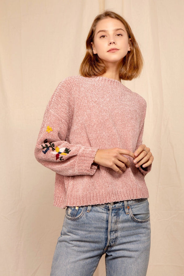 Floral Embroider Sweater in Pink