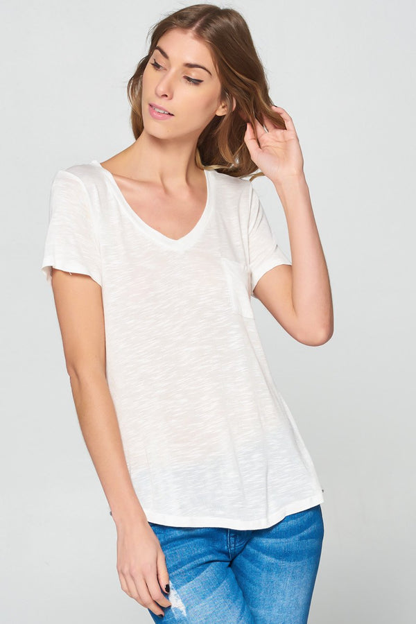 Cali Blue V-Neck Basic Tee