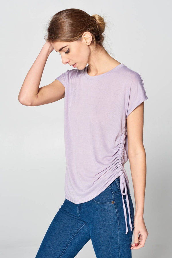 Side Tie Linen T-Shirt