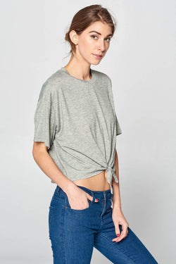 Front Knot T-Shirt in Grey