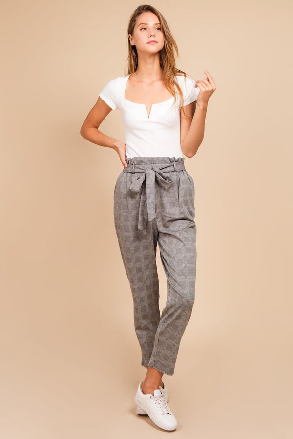 Bottoms - Belted Plaid Crop Pants