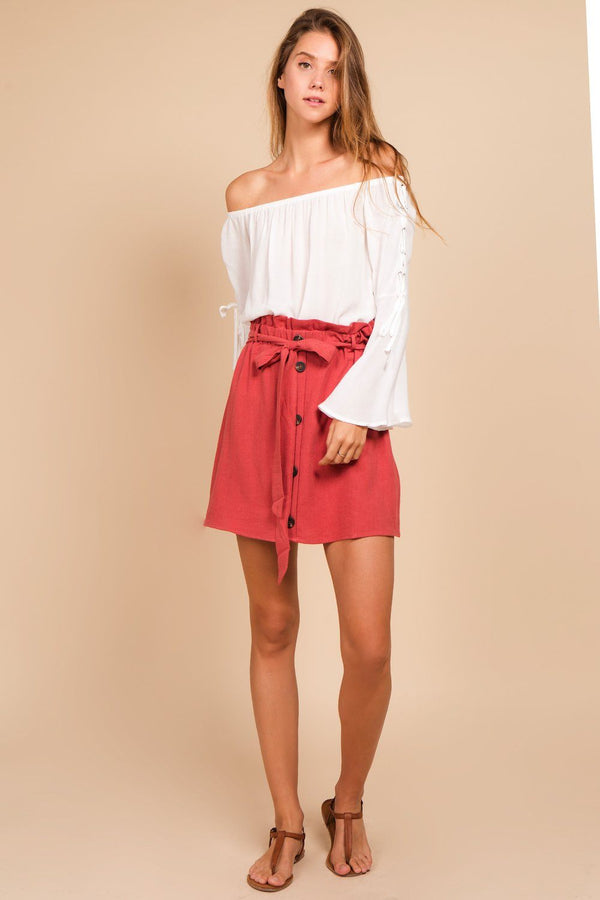 Bottoms - Button Down Belted Skirt
