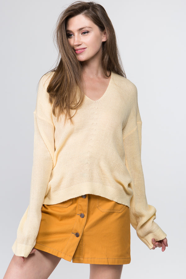 Lime Beige Plunging Neck Sweater