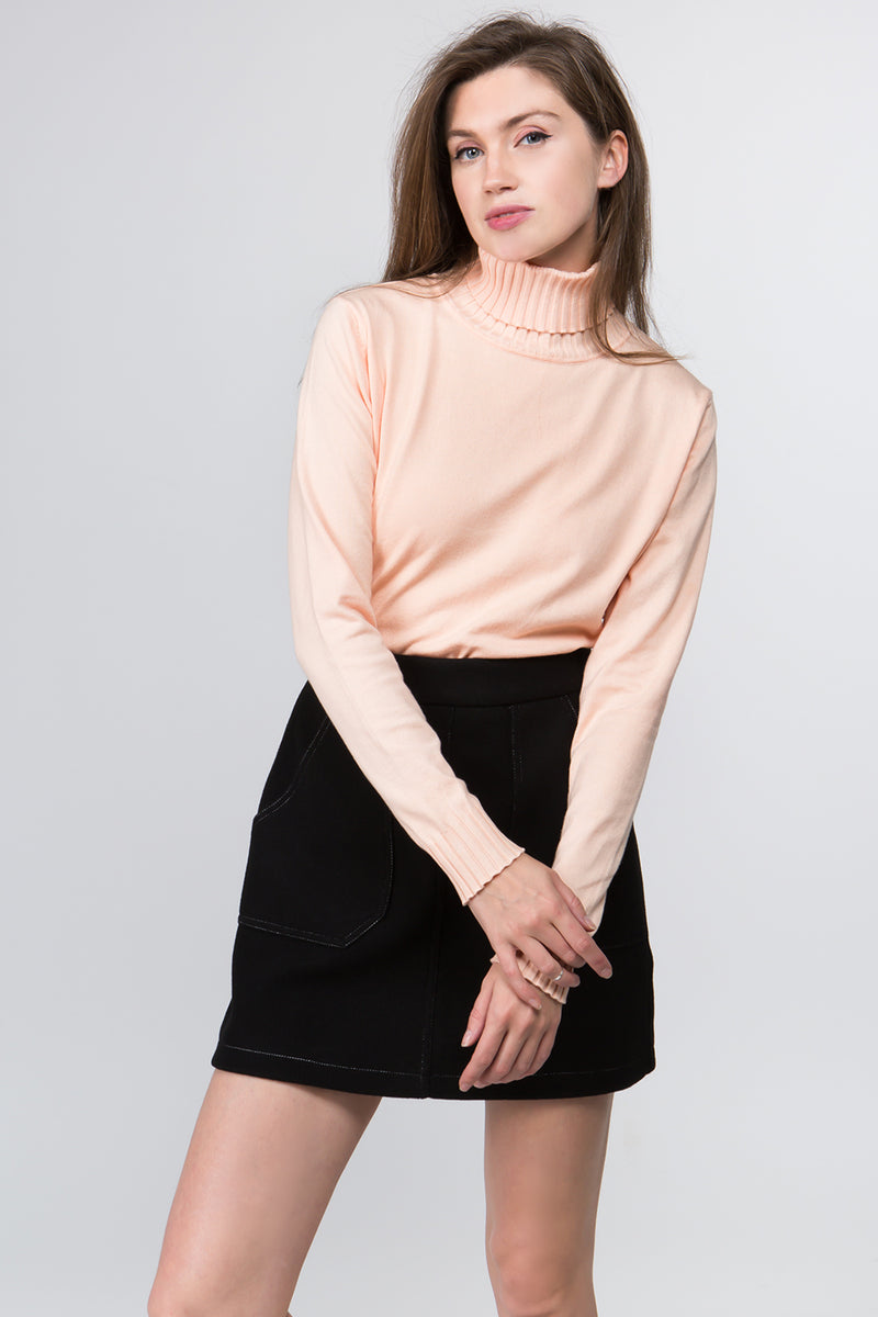 Turtleneck Sweater in Peach