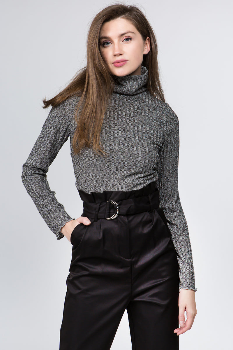 Charlie Roll Neck Sweater in Grey
