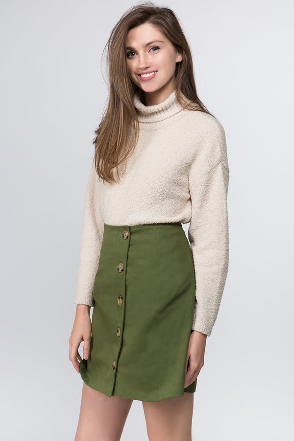 Kara Side Button Skirt in Olive