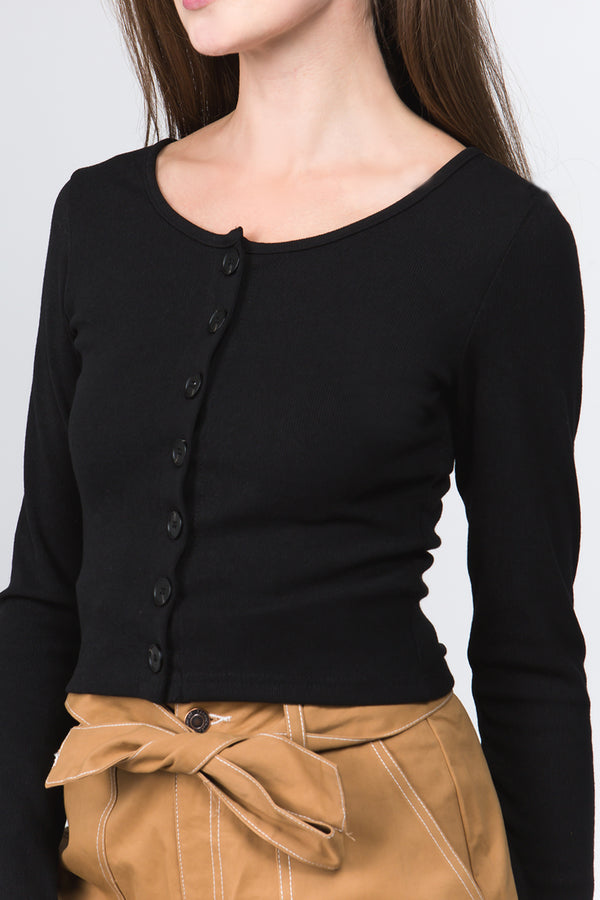 Button Front Cropped Sweater in Black