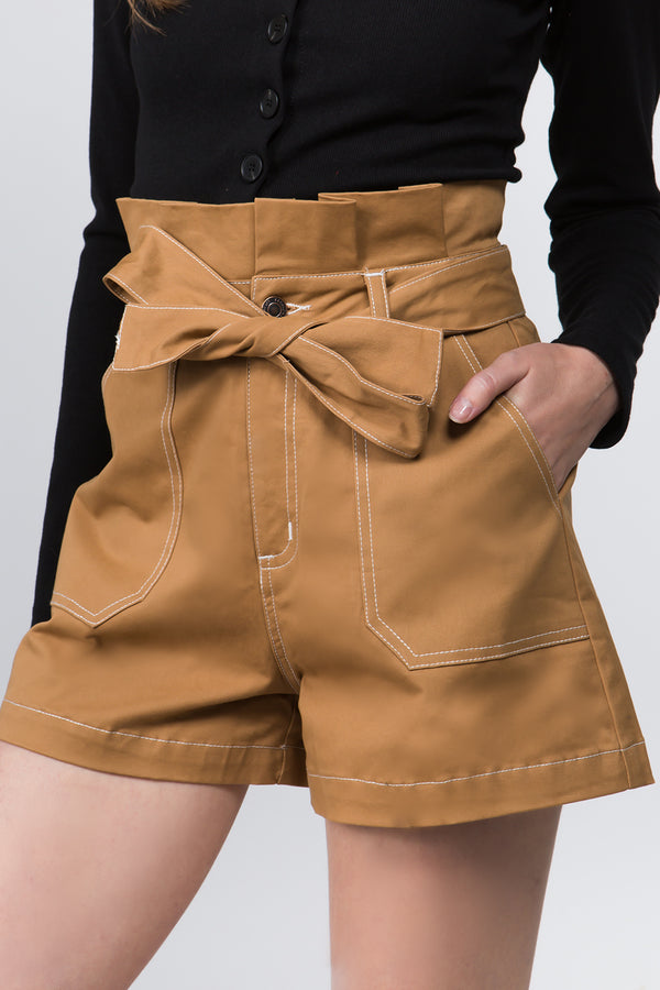 Belted Shorts in Camel