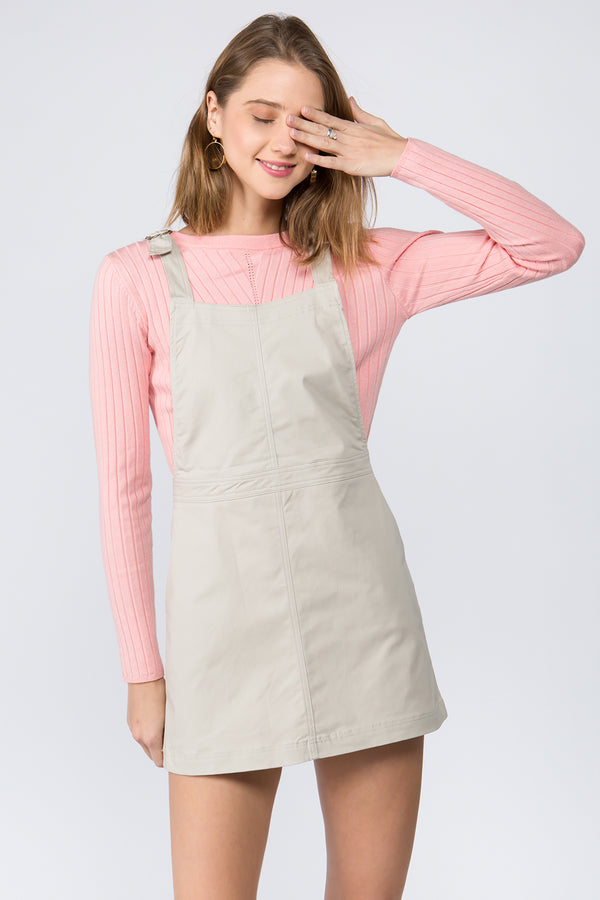 Utility Overall Dress in Off-White