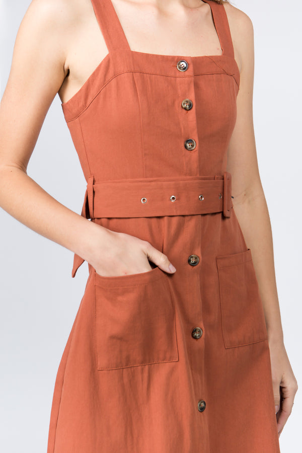 Belted Midi Dress in Rust