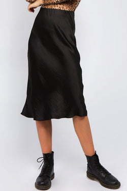 Noir Satin Midi Skirt