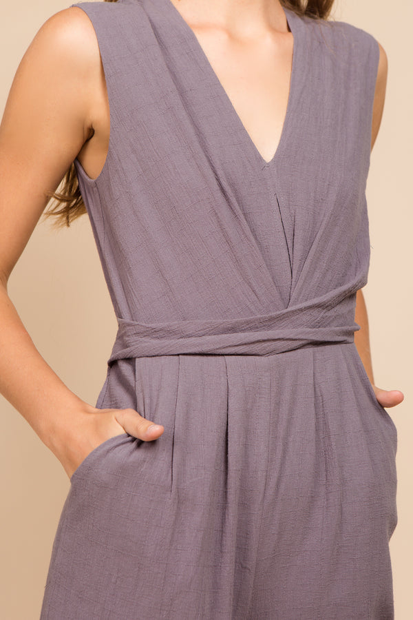 Alexi Waist Wrap Jumpsuit in Smoke