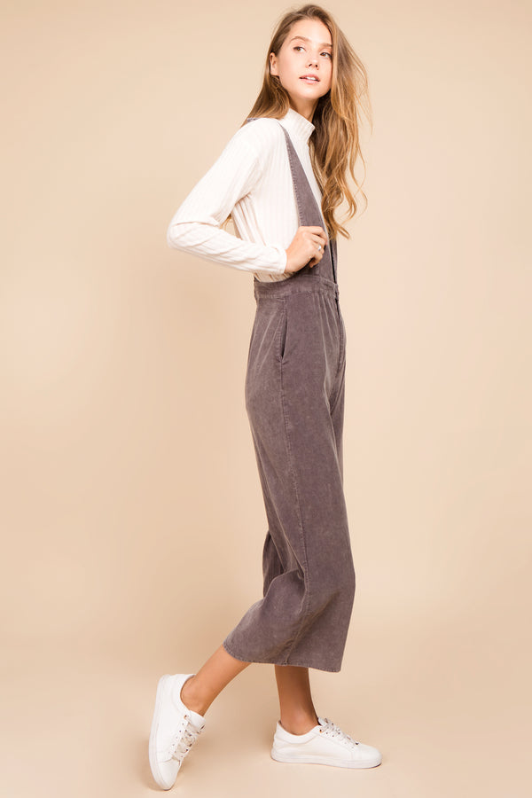 Abby Corduroy Jumpsuit in Grey
