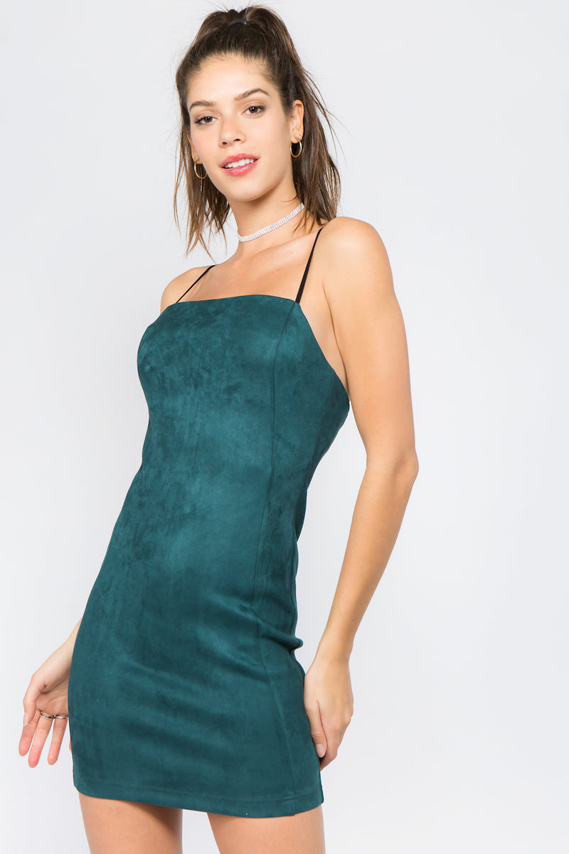 Faux Suede Slip Dress