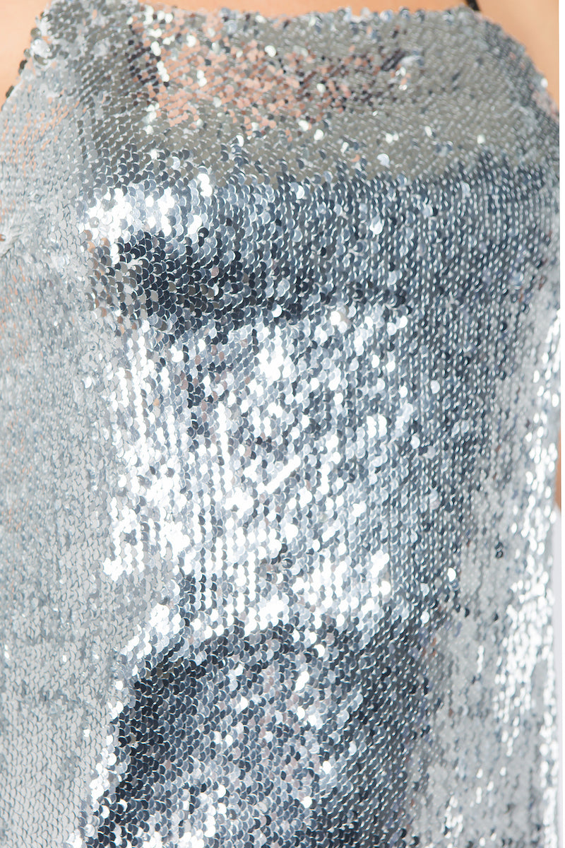 The Cecile Sequin Dress in Silver
