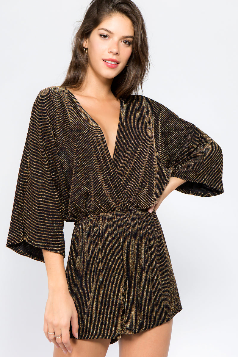 Sheer Metallic Romper in Gold