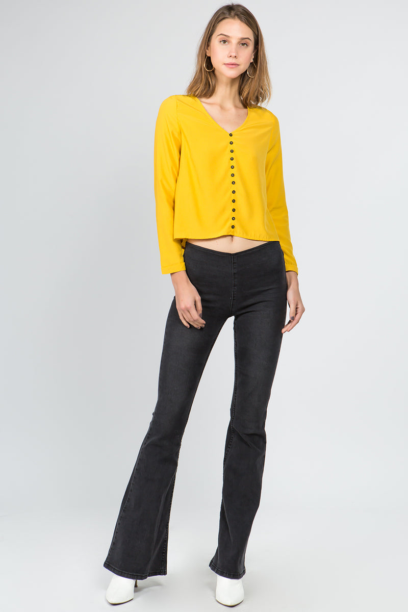 V-Neck Button Front Shirt in Mustard