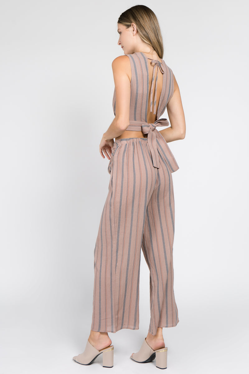 Open back striped top+pants