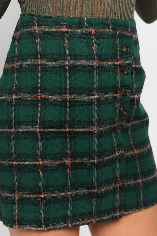 Side Button Check Skirt