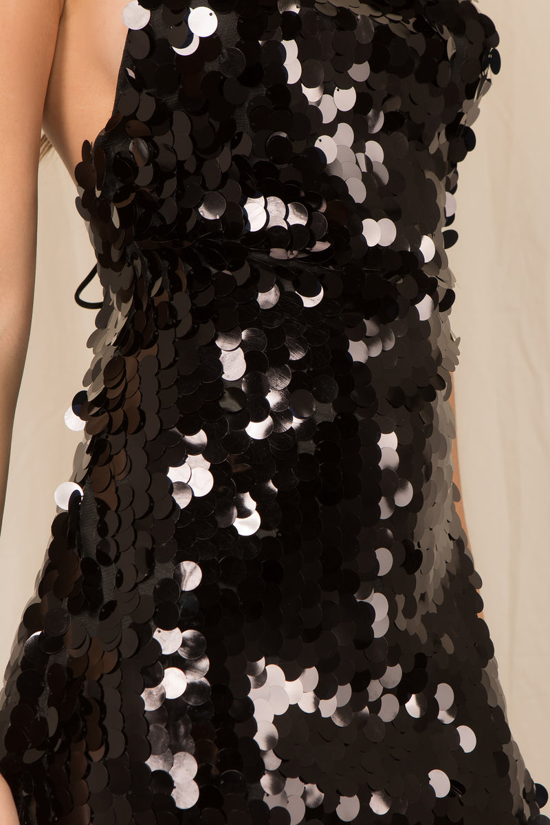 The Starlette Sequin Dress in Black