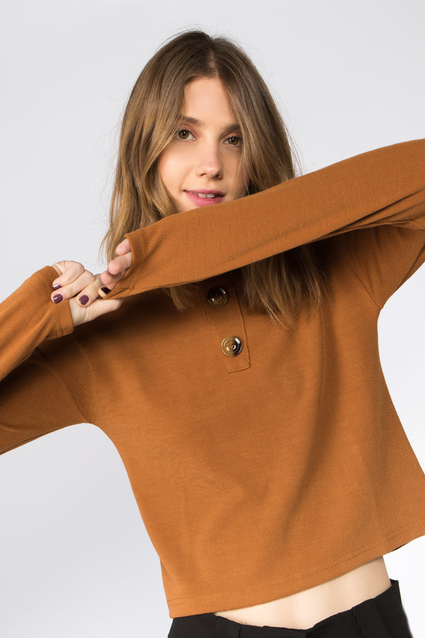 Zoe Cropped Long Sleeves Top