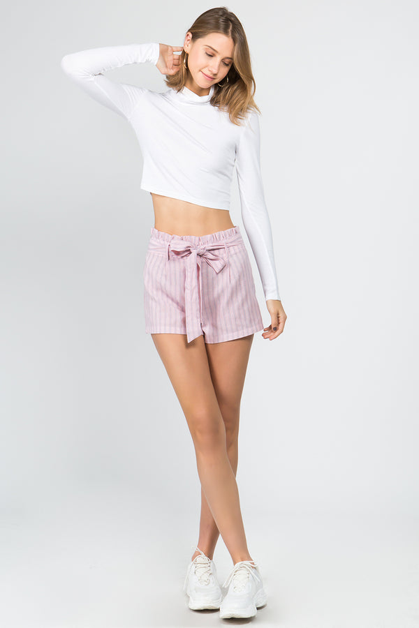 Turtleneck cropped top in White