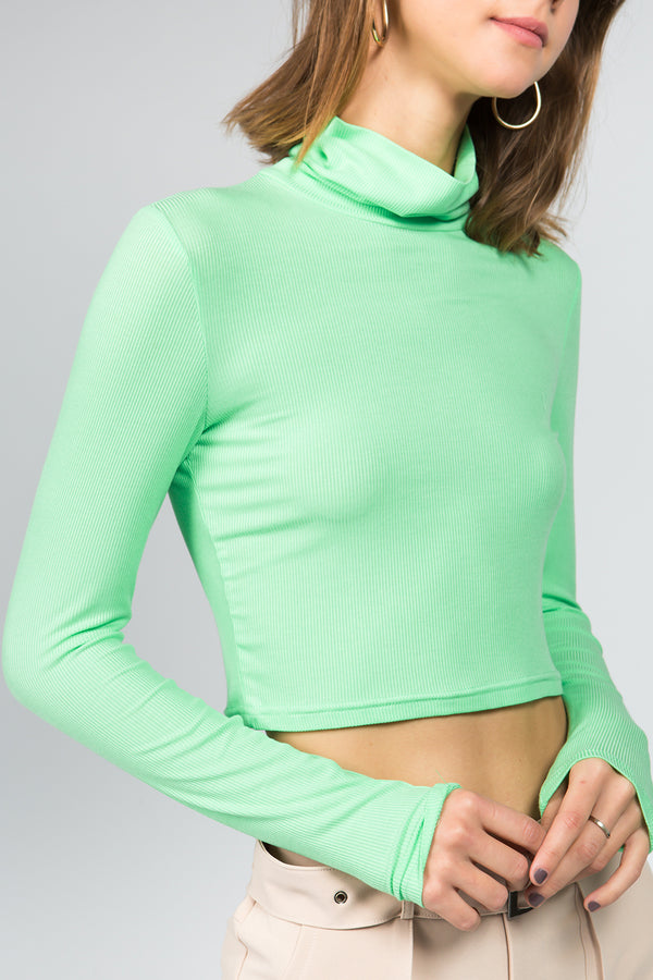 Neon Green Cropped Turtleneck Top