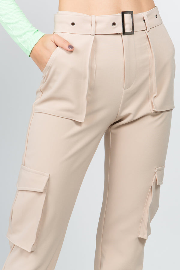Utility Belted Pants in Cream