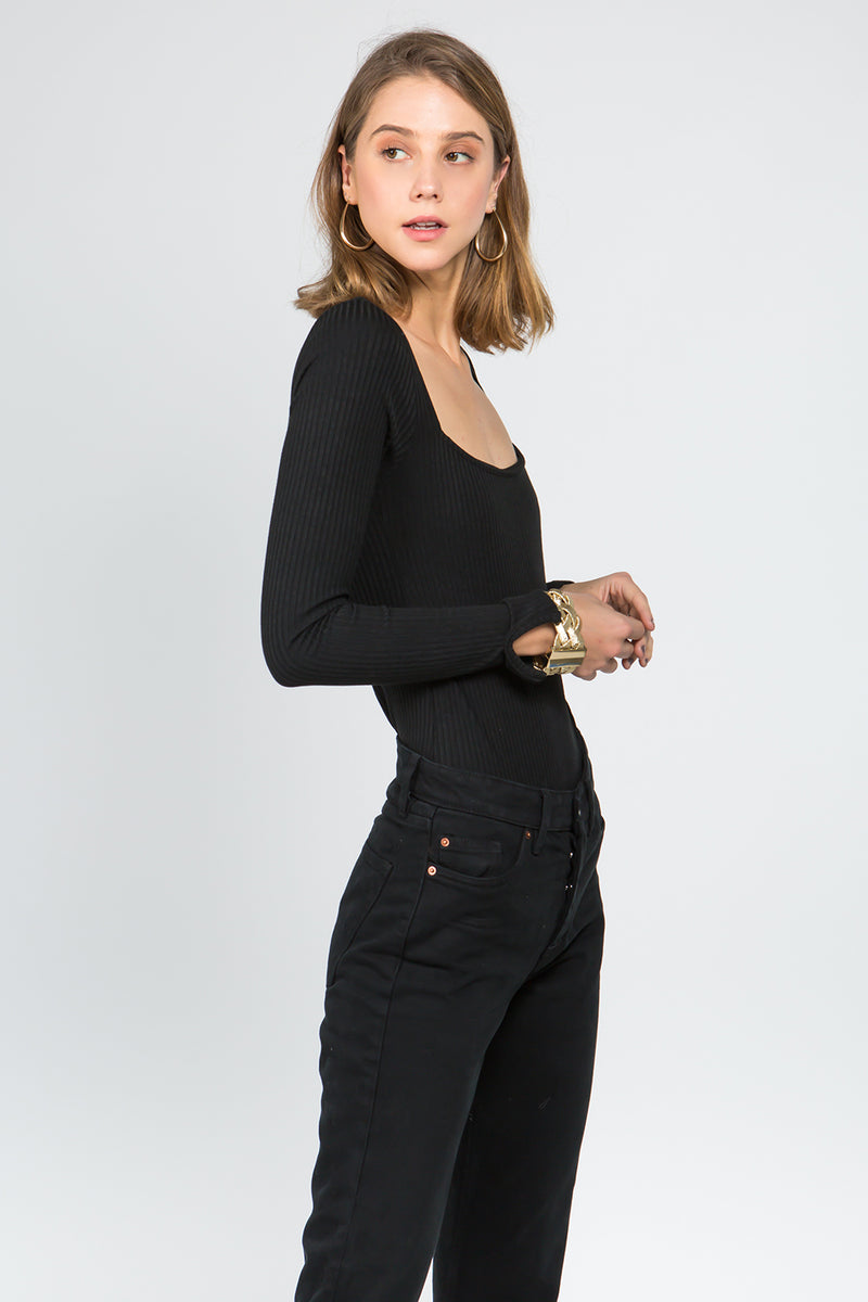 Square Neck bodysuit in Black