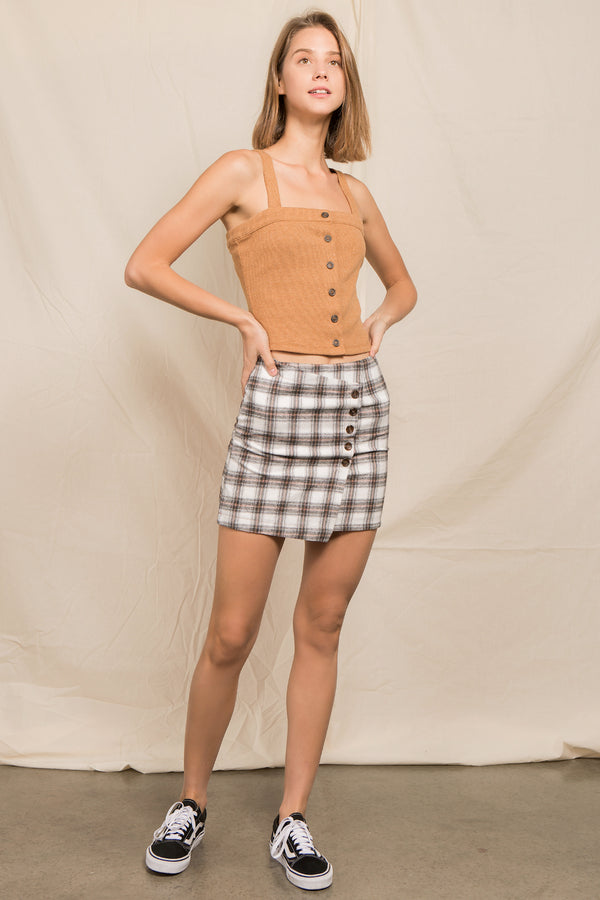 Side Button Check Skirt in Ivory