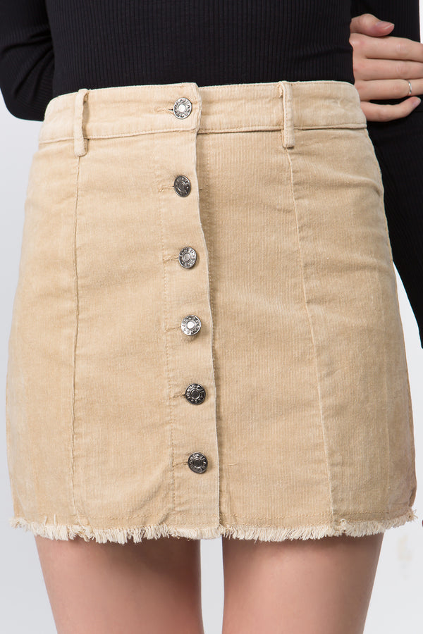 Corduroy Mini Skirt in Beige