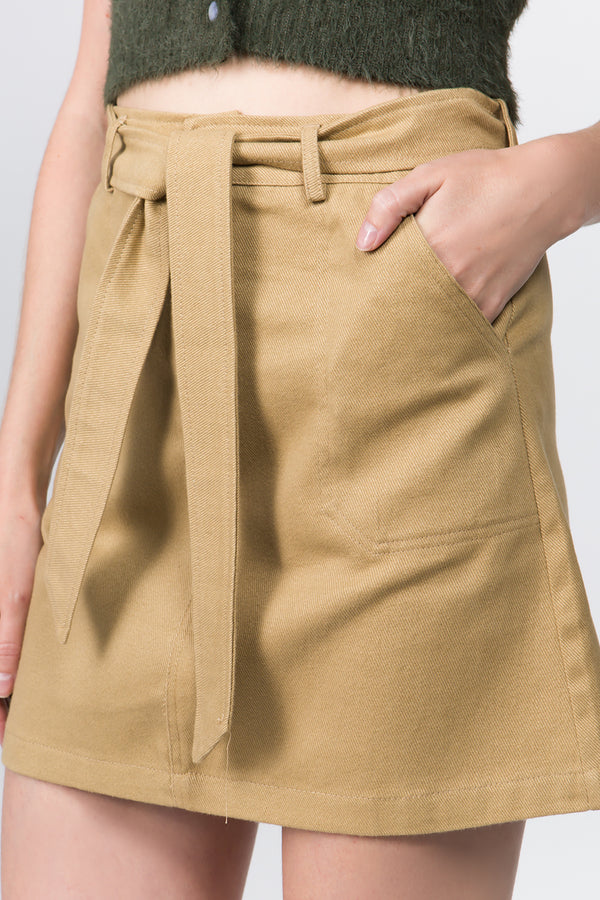 Skirt - Belted Skirt in Sand